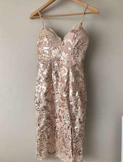 Chiffon boutique rose gold sequin dress