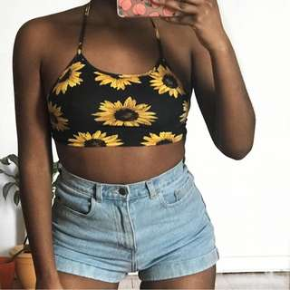 sunflower halter crop top