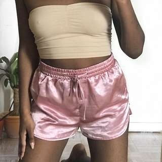 Mauve Satin Shorts