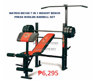 matrix mx 168 7in1 weight bench press with 80lbs barbell set on SALE