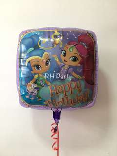 (27/4) include helium happy birthday shimmer and shine foil balloon