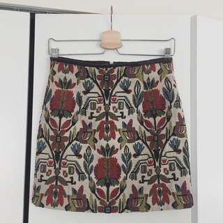 Zara Woman embroidered mini skirt