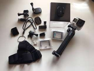 GoPro Hero 4 Silver and Accessories (used twice)