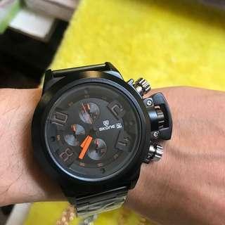 樂古著 SKONE 時空 不鏽鋼黑標帶 時尚手錶 石英錶