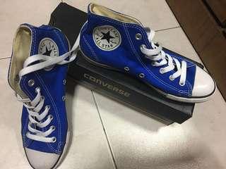 Converse high cut blue white shoes