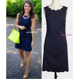 JCrew Scalloped Shift Dress Navy in Size 0