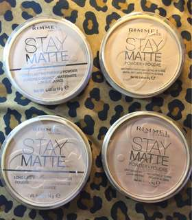 100% Authentic Rimmel Stay Matte Long Lasting Pressed Powder