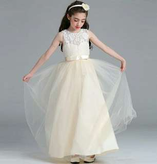 Princess Flower Girl Lace Long Gown Wedding Dress Champagne Up to 15 Years Old