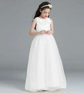 Princess Flower Girl Lace Long Gown Wedding Dress White Up to 15 Years Old