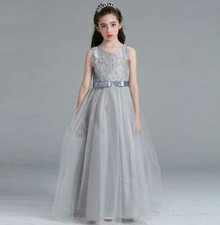 Princess Flower Girl Lace Long Gown Wedding Dress GREY Up to 15 Years Old