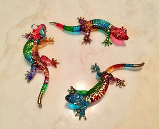 3 pcs handmade, coloured glass gecko