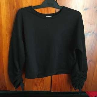 Ribbon Sleeve Shirt Black