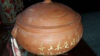 vintage clay pot pottery with potter mark