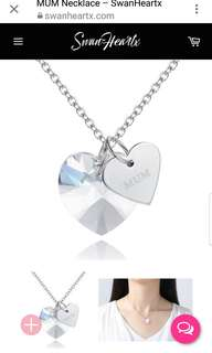 MUM diamond crystal heart necklace