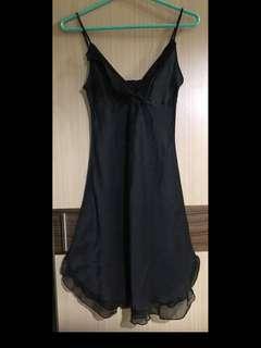 免運費❗️黑色 真絲 雪紡紗 細肩帶 洋裝 睡衣 胸前 下襬 荷葉邊設計