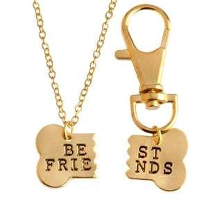 #205 best friend dog bone keychain necklace | po
