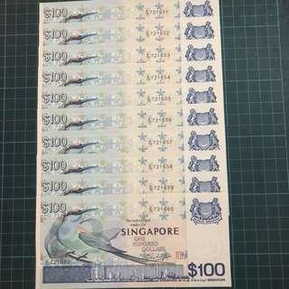 RARE UNC 10 Run Bird$100