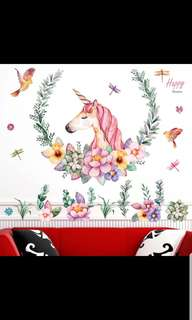 Removable Wall Sticker Unicorn Living Room Bedroom TV Wall Simple Nordic Wallpaper Sticker Self-Adhesive Hostel