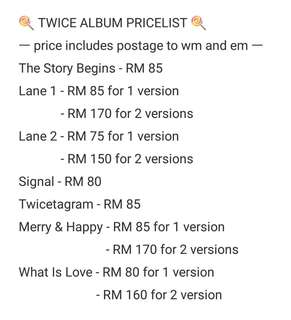 twice album pricelist