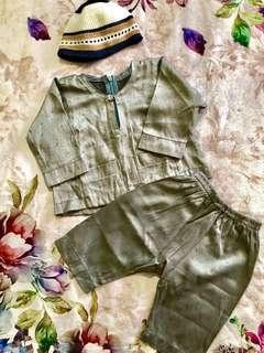 Baju Melayu (kelabu) & kopiah 3-6 months