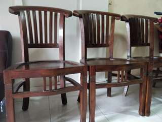 Indonesian teak wooden chairs (set of 6)