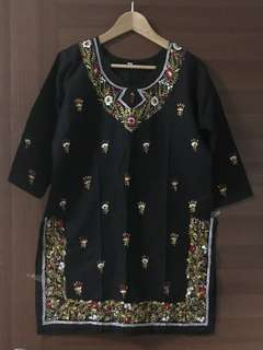 Indian Embroidered Floral Black Kurti / Top