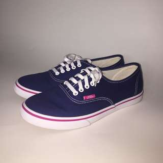 Authentic Vans Womens Canvas Shoes Navy Blue with Pink Accent