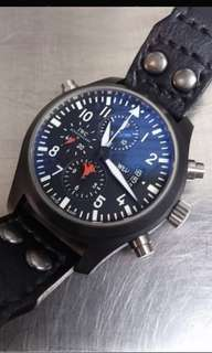 IWC 萬國錶 379901 飛行員雙追針計時 TOP GUN海軍空戰部隊腕錶, 大錶徑46mm陶瓷錶殼(絕版)