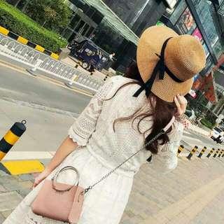 Small Pink Sling Bag Or Grey Female Korean Style Cute Elegant Rich