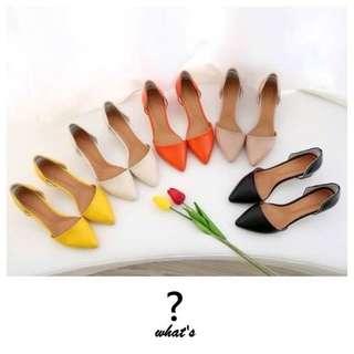 🚚 Korea 👡 時尚名媛糖果色尖頭淺口包鞋
