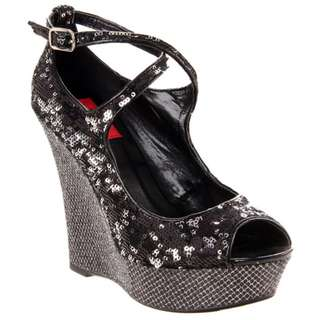 FARENHEIT BLACK SEQUIN sparkle CROSS STRAP WEDGE shoes NEW club party heels