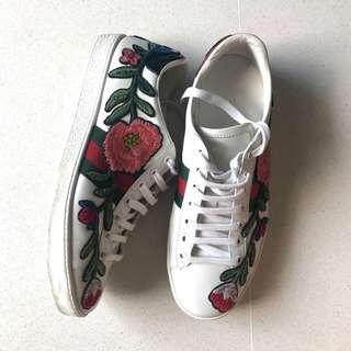 Gucci Ace Embroided Floral Sneakers 38