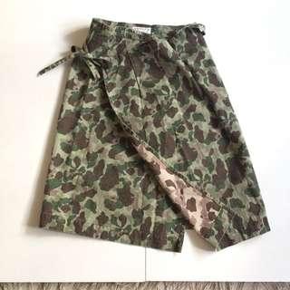 日本製 Beams boy 長裙 裙子 迷彩 軍事 復古 HBT 古著 outdoor 魚骨紋 人字紋