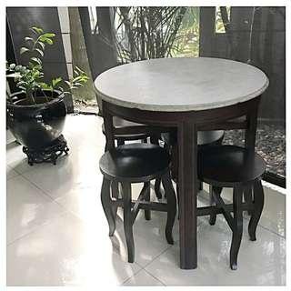 Antique teak marble top table