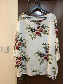 Brand new ! Plus size floral top - white