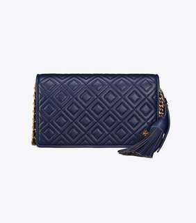 Tory Burch Fleming Flat Wallet Crossbody - navy blue