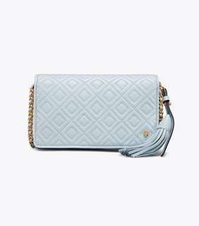 Tory Burch Fleming Flat Wallet Crossbody - light blue