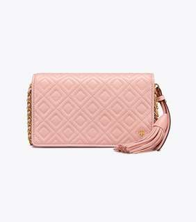 Tory Burch Fleming Flat Wallet Crossbody - shell pink