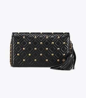 Tory Burch Fleming Stud Flat wallet Crossbody - black