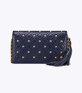 Tory Burch Fleming Stud Flat Wallet Crossbody - navy blue
