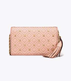 Tory Burch Fleming Stud Flat Wallet Crossbody - pink beige