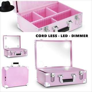 Makeup case with led mirror