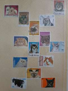Cat stamps collection
