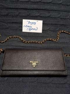 Authentic Prada Saffiano Metal Wallet on Chain in Nero