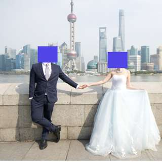 Wedding gown (with blue and purple layer)