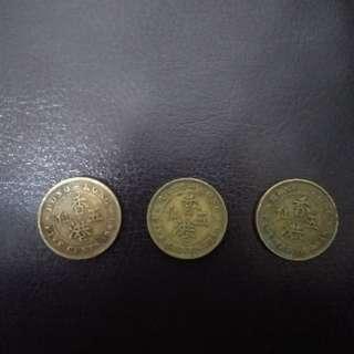 香港早期錢幣五仙(1948, 1949, 1950年)共:3枚