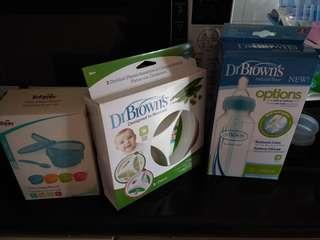 Bnib Dr brown options bottle, feeding plates & tollyjoy feeding bowl