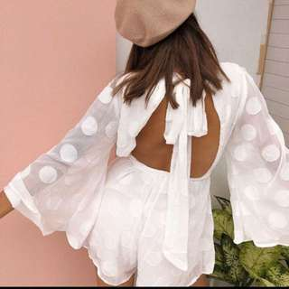 White playsuit long sleeves open back