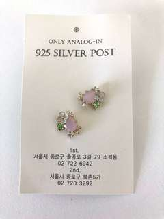 MADE IN KOREA 925 Silver Pink Flower Earrings