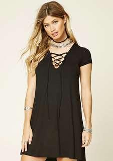 F21 lace up front black dress